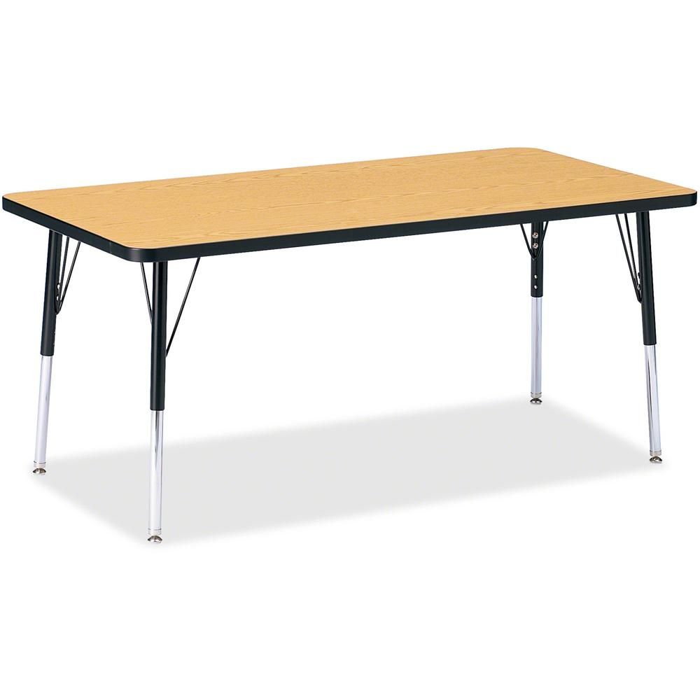 "Berries Adult Height Color Top Rectangle Table - Laminated Rectangle, Oak Top - Four Leg Base - 4 Legs - 30"" Table Top Length x 60"" Table Top Width x 1.13"" Table Top Thickness - 15"" Height - Assembly . Picture 1"