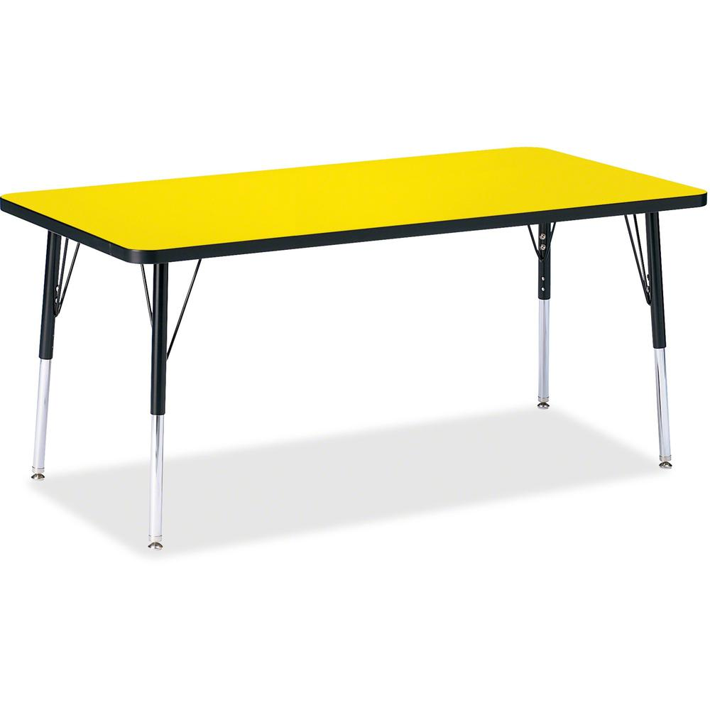 "Berries Adult Height Color Top Rectangle Table - Laminated Rectangle, Yellow Top - Four Leg Base - 4 Legs - 60"" Table Top Length x 30"" Table Top Width x 1.13"" Table Top Thickness - 31"" Height - Assemb. Picture 1"