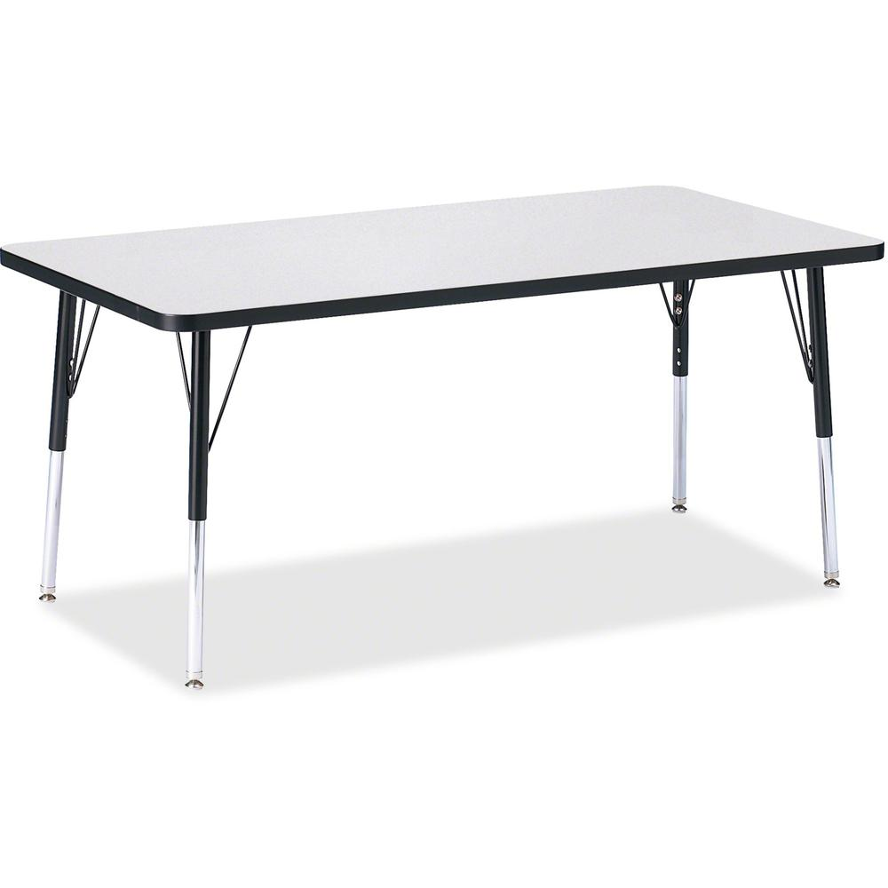 """Berries Adult Height Color Edge Rectangle Table - Black Rectangle, Laminated Top - Four Leg Base - 4 Legs - 60"""" Table Top Length x 30"""" Table Top Width x 1.13"""" Table Top Thickness - 31"""" Height - Assemb. Picture 1"""