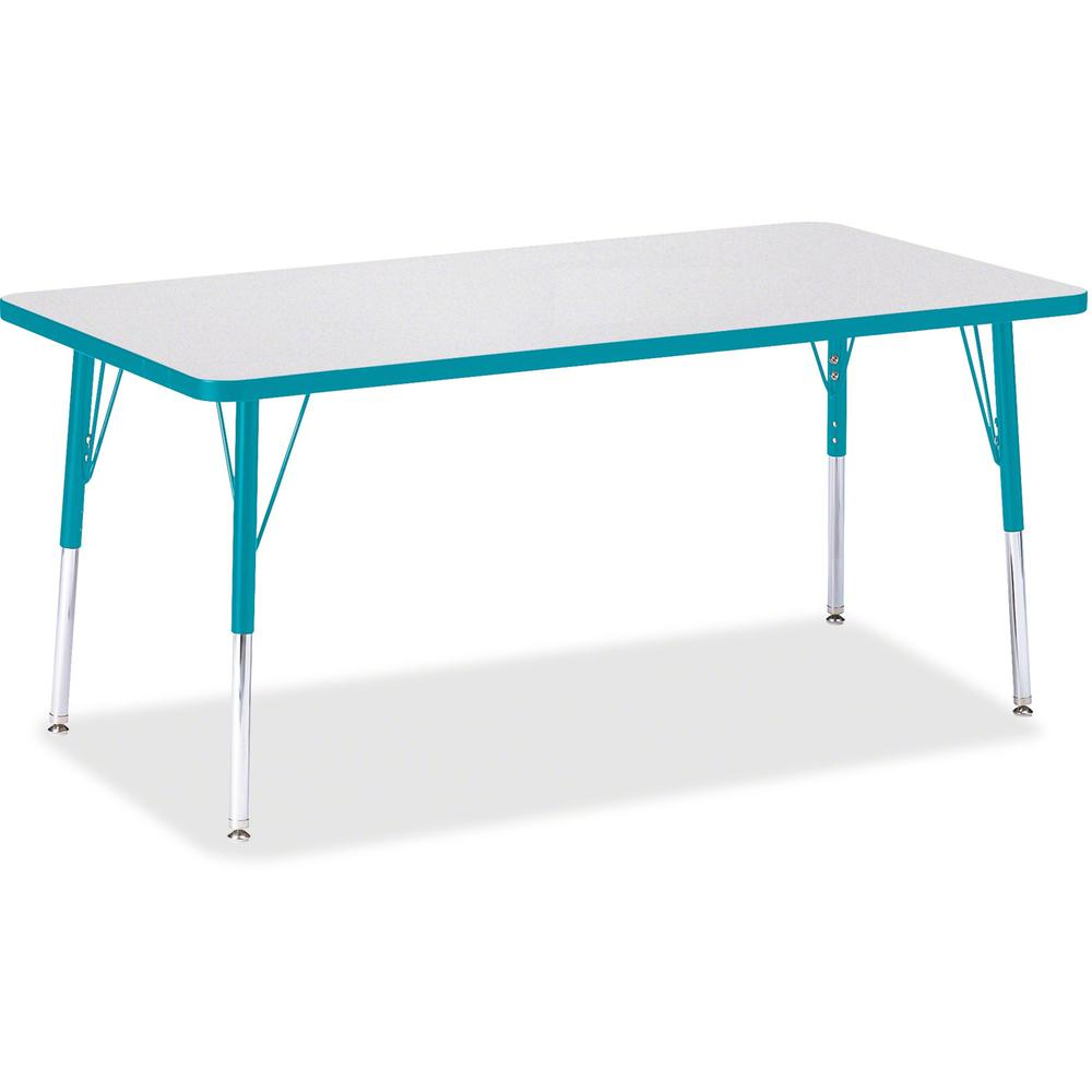 "Jonti-Craft Berries Adult Height Color Edge Rectangle Table - Laminated Rectangle, Teal Top - Four Leg Base - 4 Legs - 60"" Table Top Length x 30"" Table Top Width x 1.13"" Table Top Thickness - 31"" Heig. Picture 1"