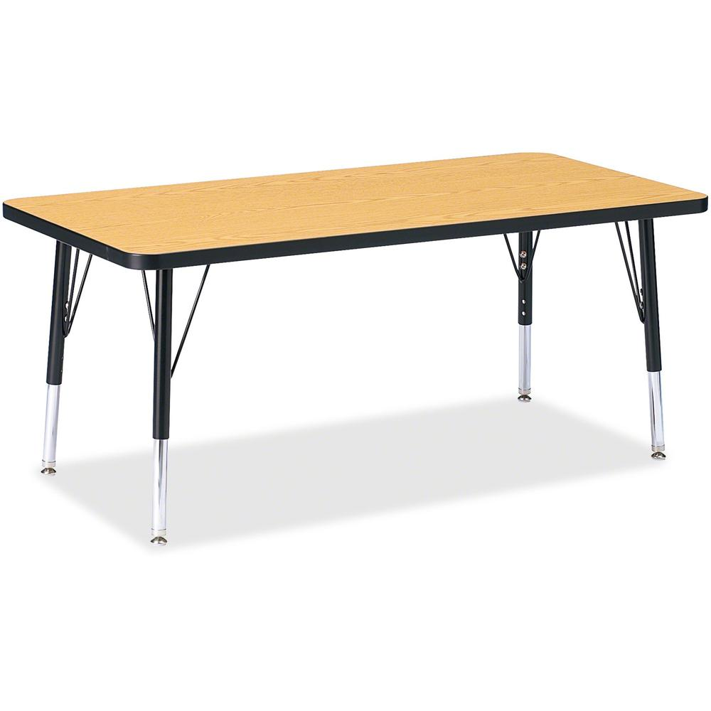 """Berries Toddler Height Color Top Rectangle Table - Black Oak Rectangle, Laminated Top - Four Leg Base - 4 Legs - 48"""" Table Top Length x 24"""" Table Top Width x 1.13"""" Table Top Thickness - 15"""" Height - A. Picture 1"""