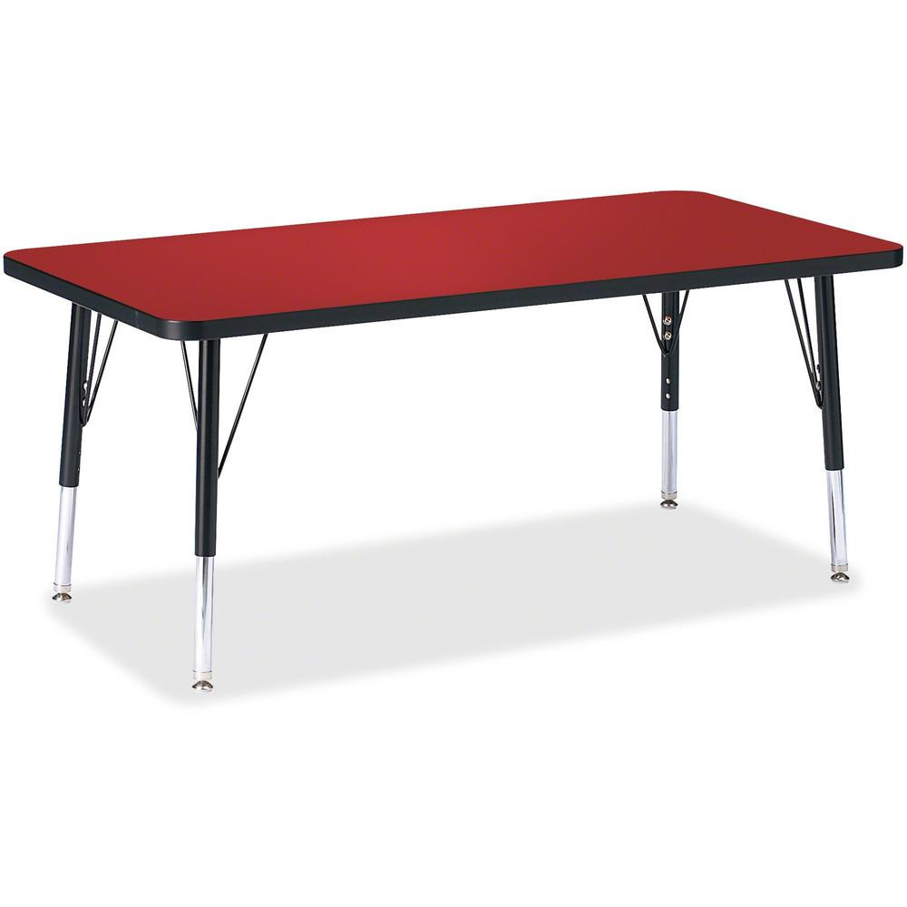 """Jonti-Craft Berries Toddler Height Color Top Rectangle Table - Laminated Rectangle, Red Top - Four Leg Base - 4 Legs - 48"""" Table Top Length x 24"""" Table Top Width x 1.13"""" Table Top Thickness - 15"""" Heig. Picture 1"""