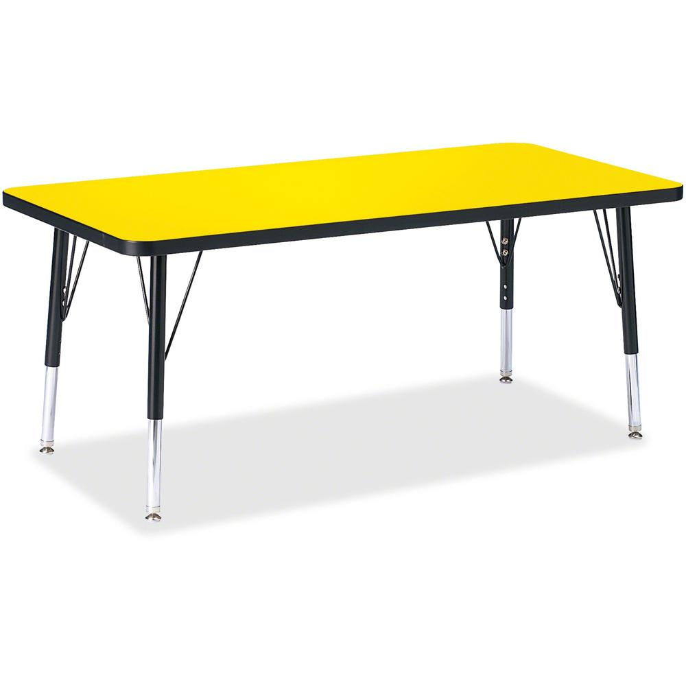 """Berries Toddler Height Color Top Rectangle Table - Laminated Rectangle, Yellow Top - Four Leg Base - 4 Legs - 48"""" Table Top Length x 24"""" Table Top Width x 1.13"""" Table Top Thickness - 15"""" Height - Asse. Picture 1"""
