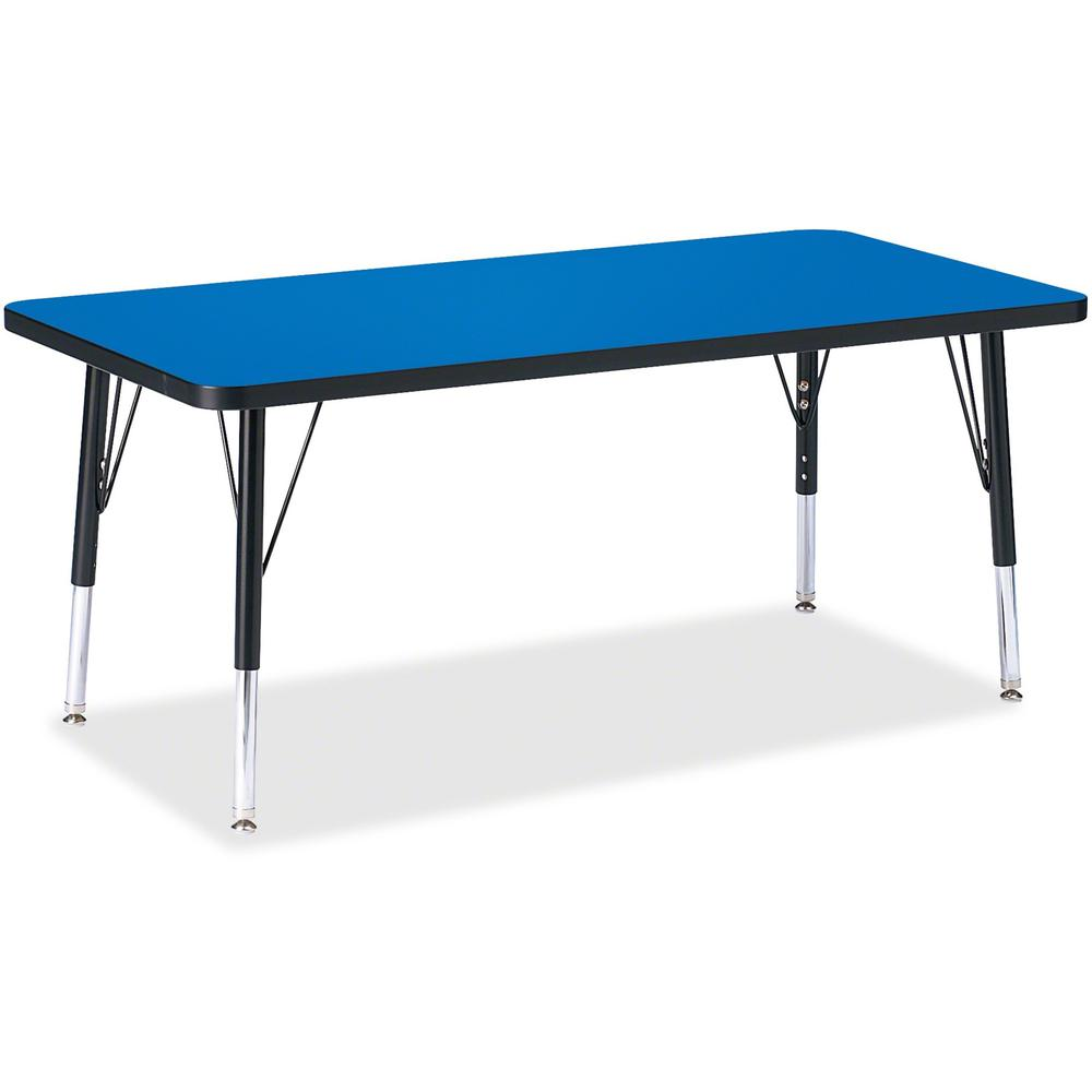 """Berries Toddler Height Color Top Rectangle Table - Blue Rectangle, Laminated Top - Four Leg Base - 4 Legs - 48"""" Table Top Length x 24"""" Table Top Width x 1.13"""" Table Top Thickness - 15"""" Height - Assemb. Picture 1"""