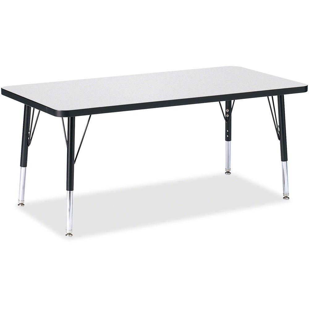 "Berries Toddler Height Prism Edge Rectangle Table - Black Rectangle, Laminated Top - Four Leg Base - 4 Legs - 48"" Table Top Length x 24"" Table Top Width x 1.13"" Table Top Thickness - 15"" Height - Asse. Picture 1"