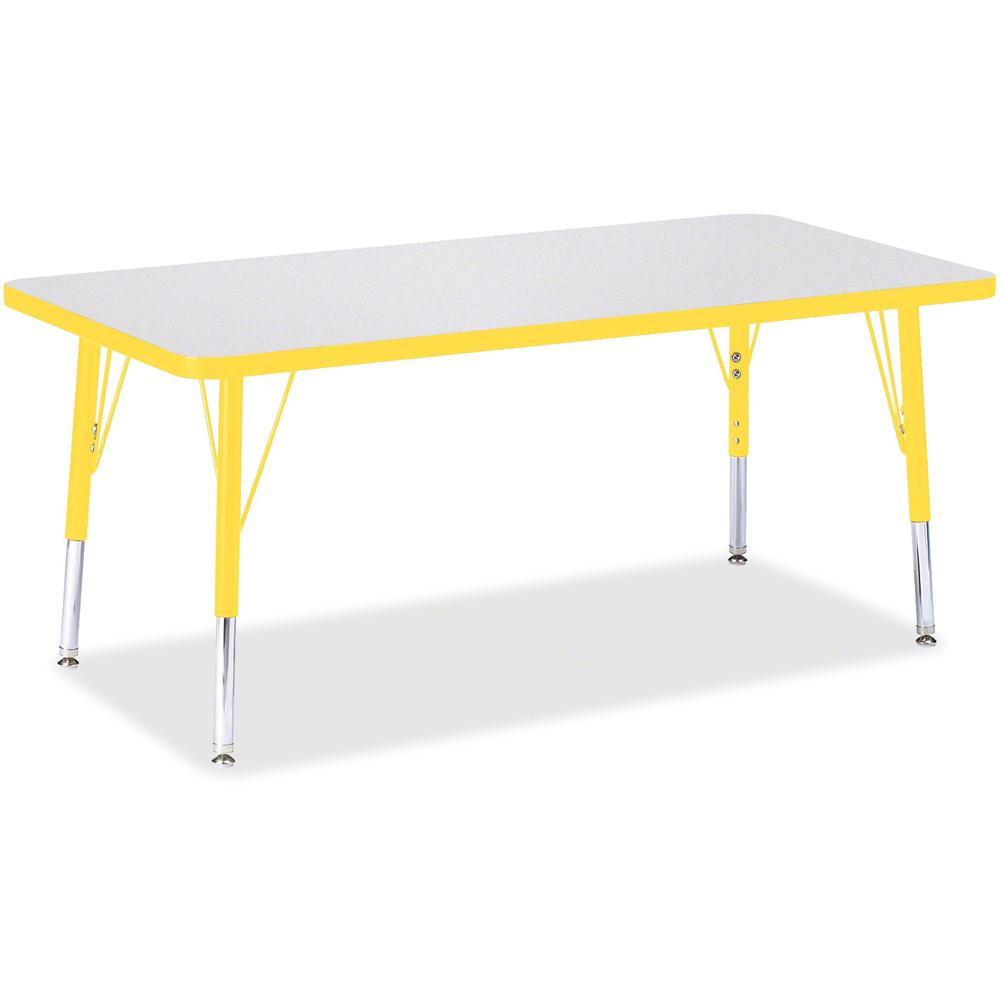 """Berries Toddler Height Prism Edge Rectangle Table - Laminated Rectangle, Yellow Top - Four Leg Base - 4 Legs - 48"""" Table Top Length x 24"""" Table Top Width x 1.13"""" Table Top Thickness - 15"""" Height - Ass. Picture 1"""