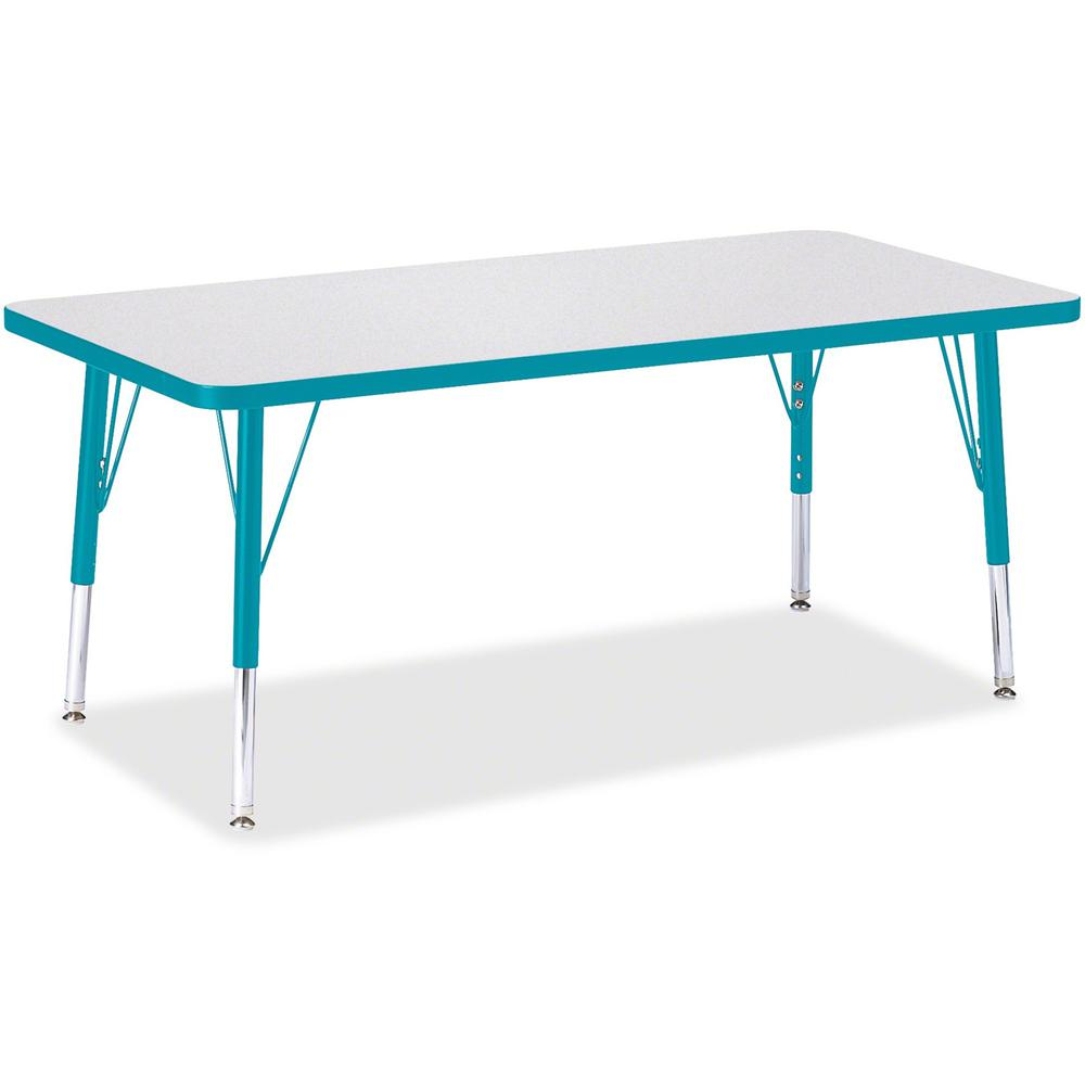 "Berries Toddler Height Prism Edge Rectangle Table - Laminated Rectangle, Teal Top - Four Leg Base - 4 Legs - 48"" Table Top Length x 24"" Table Top Width x 1.13"" Table Top Thickness - 15"" Height - Assem. Picture 1"