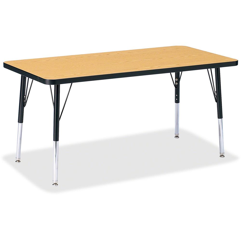 """Berries Elementary Oak Laminate Rectangle Table - Black Oak Rectangle, Laminated Top - Four Leg Base - 4 Legs - 48"""" Table Top Length x 24"""" Table Top Width x 1.13"""" Table Top Thickness - 24"""" Height - As. Picture 1"""