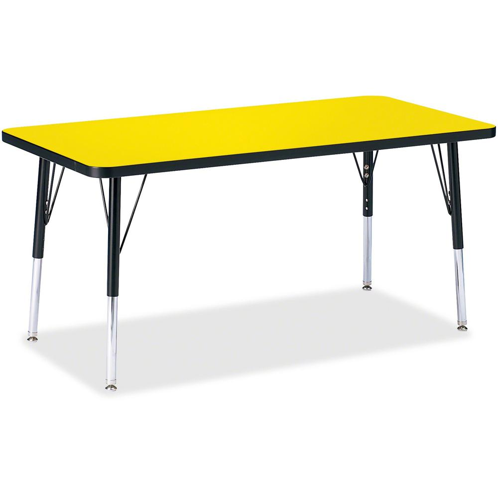 "Jonti-Craft Berries Elementary Height Color Top Rectangle Table - Laminated Rectangle, Yellow Top - Four Leg Base - 4 Legs - 48"" Table Top Length x 24"" Table Top Width x 1.13"" Table Top Thickness - 24. Picture 1"