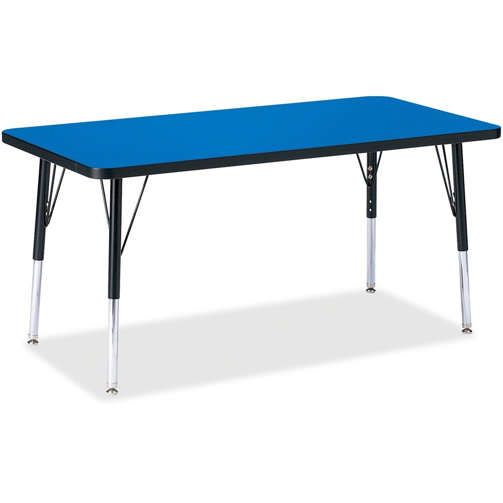 """Berries Elementary Height Color Top Rectangle Table - Blue Rectangle, Laminated Top - Four Leg Base - 4 Legs - 48"""" Table Top Length x 24"""" Table Top Width x 1.13"""" Table Top Thickness - 24"""" Height - Ass. Picture 1"""