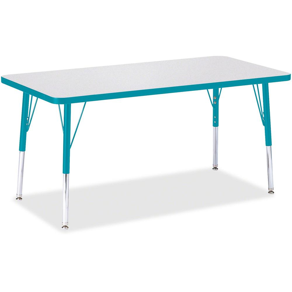 "Berries Elementary Height Color Edge Rectangle Table - Gray Rectangle Top - Four Leg Base - 4 Legs - 48"" Table Top Length x 24"" Table Top Width x 1.13"" Table Top Thickness - 24"" Height - Assembly Requ. Picture 1"
