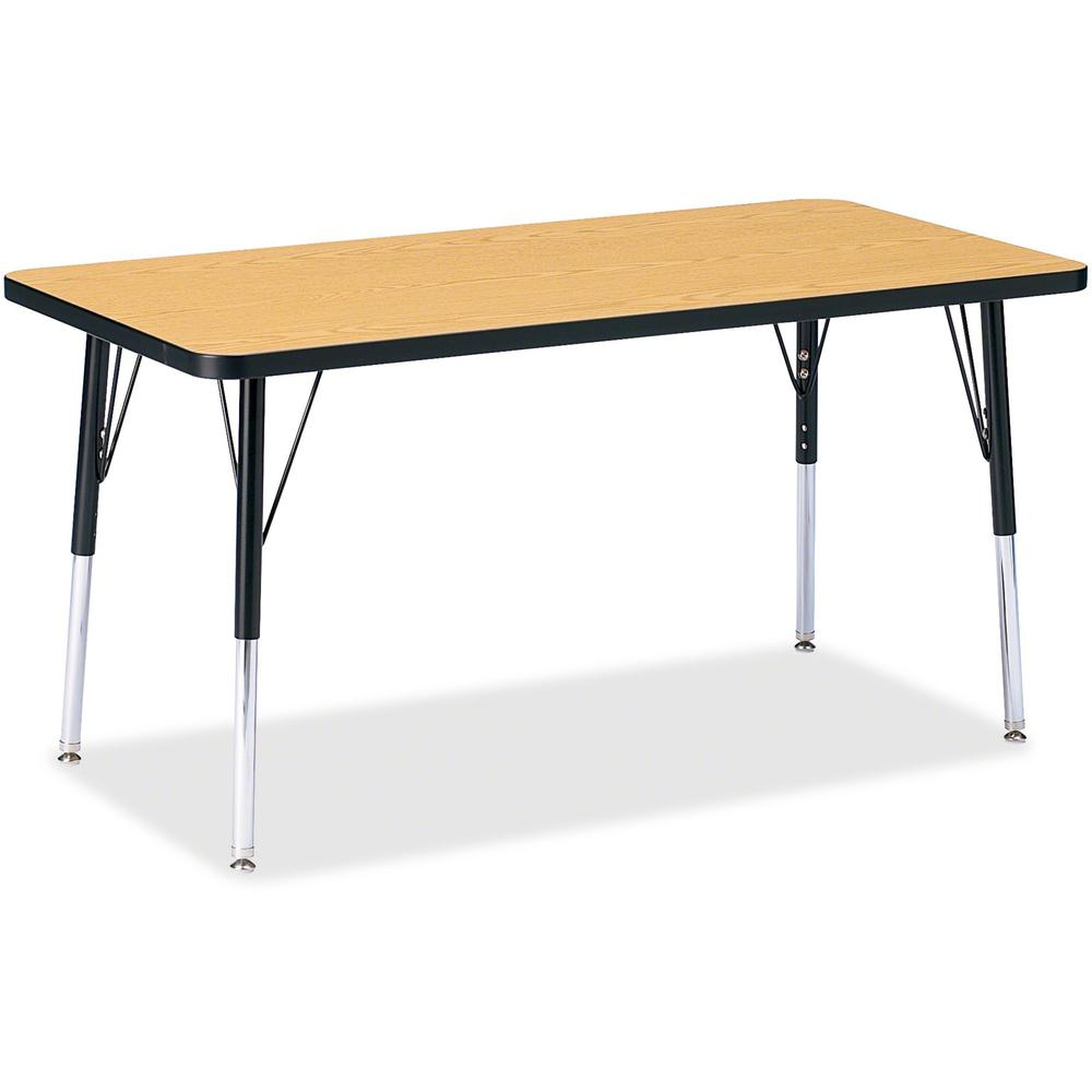 "Berries Adult Height Color Top Rectangle Table - Black Oak Rectangle, Laminated Top - Four Leg Base - 4 Legs - 48"" Table Top Length x 24"" Table Top Width x 1.13"" Table Top Thickness - 31"" Height - Ass. Picture 1"