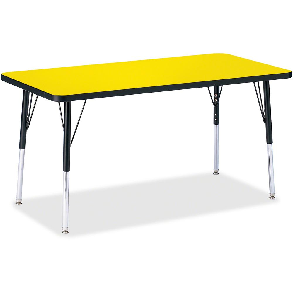 "Berries Adult Height Color Top Rectangle Table - Laminated Rectangle, Yellow Top - Four Leg Base - 4 Legs - 48"" Table Top Length x 24"" Table Top Width x 1.13"" Table Top Thickness - 31"" Height - Assemb. Picture 1"