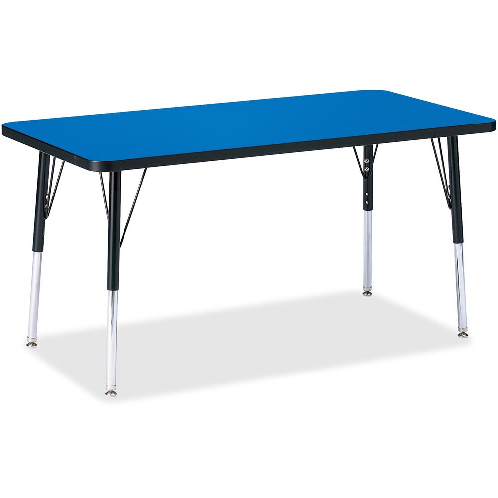 """Berries Adult Height Color Top Rectangle Table - Blue Rectangle, Laminated Top - Four Leg Base - 4 Legs - 48"""" Table Top Length x 24"""" Table Top Width x 1.13"""" Table Top Thickness - 31"""" Height - Assembly. Picture 1"""
