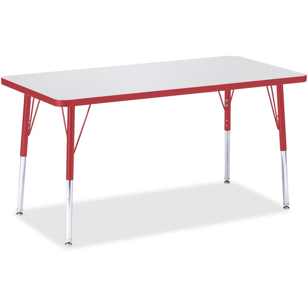 "Berries Adult Height Color Edge Rectangle Table - Laminated Rectangle, Red Top - Four Leg Base - 4 Legs - 48"" Table Top Length x 24"" Table Top Width x 1.13"" Table Top Thickness - 31"" Height - Assembly. Picture 1"