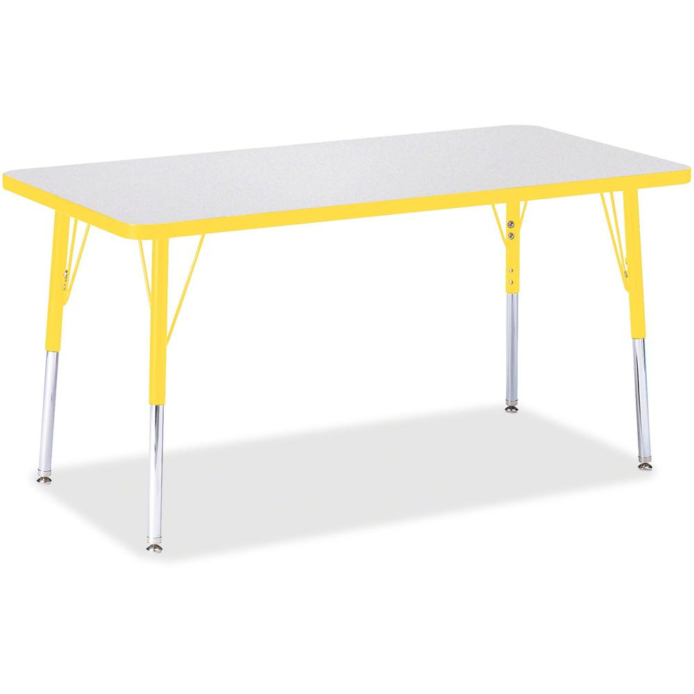 """Berries Adult Height Color Edge Rectangle Table - Laminated Rectangle, Yellow Top - Four Leg Base - 4 Legs - 48"""" Table Top Length x 24"""" Table Top Width x 1.13"""" Table Top Thickness - 31"""" Height - Assem. Picture 1"""