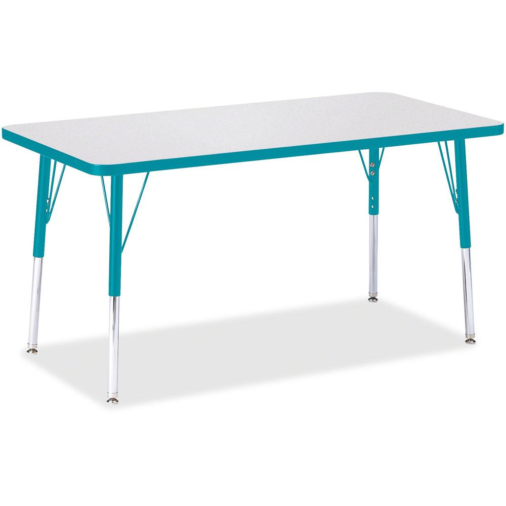 "Berries Adult Height Color Edge Rectangle Table - Laminated Rectangle, Teal Top - Four Leg Base - 4 Legs - 48"" Table Top Length x 24"" Table Top Width x 1.13"" Table Top Thickness - 31"" Height - Assembl. Picture 1"