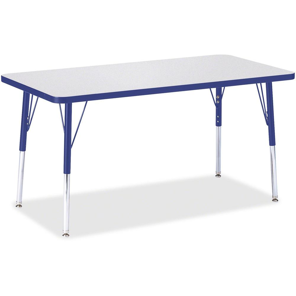 "Berries Adult Height Color Edge Rectangle Table - Gray Rectangle, Laminated Top - Four Leg Base - 4 Legs - 48"" Table Top Length x 24"" Table Top Width x 1.13"" Table Top Thickness - 31"" Height - Assembl. Picture 1"