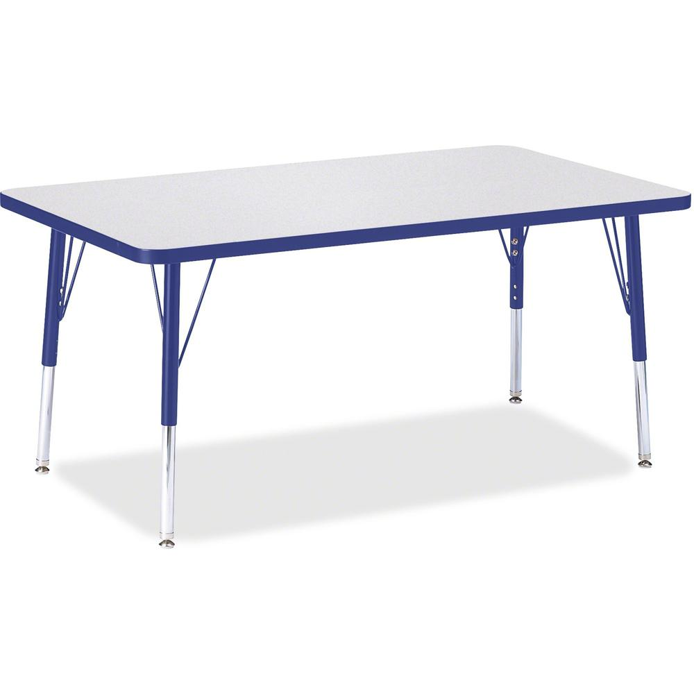 "Jonti-Craft Berries Elementary Height Gray Top Rectangular Table - Gray Rectangle, Laminated Top - Four Leg Base - 4 Legs - 48"" Table Top Length x 30"" Table Top Width x 1.13"" Table Top Thickness - 24"". Picture 1"