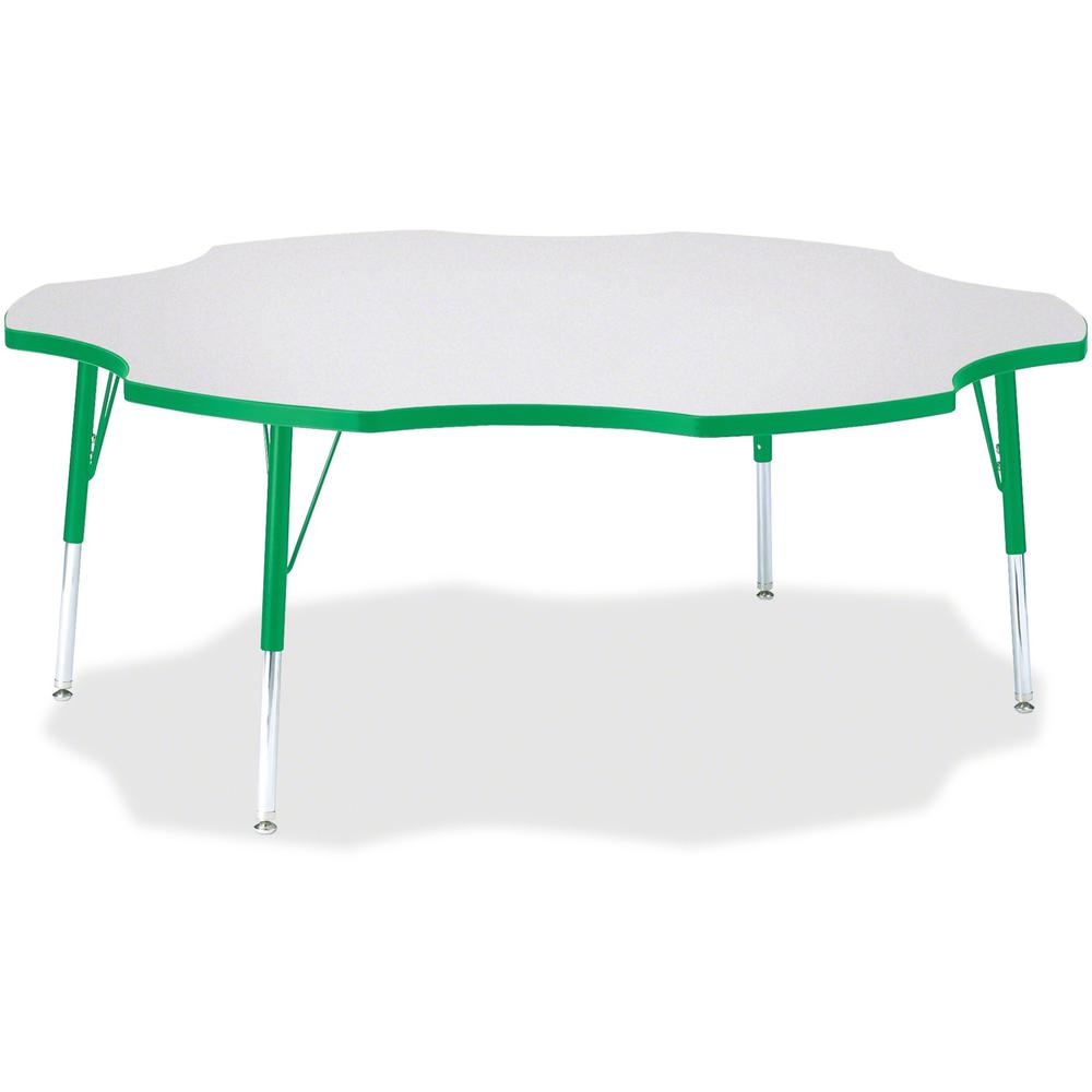 "Jonti-Craft Berries Elementary Height Prism Six-Leaf Table - Green, Laminated Top - Four Leg Base - 4 Legs - 1.13"" Table Top Thickness x 60"" Table Top Diameter - 24"" Height - Assembly Required - Powde. Picture 1"