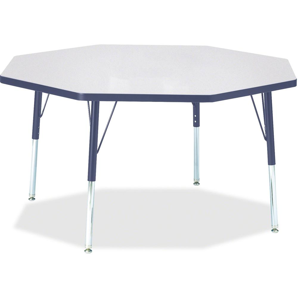 """Berries Elementary Height Color Edge Octagon Table - Gray Octagonal, Laminated Top - Four Leg Base - 4 Legs - 1.13"""" Table Top Thickness x 48"""" Table Top Diameter - 24"""" Height - Assembly Required - Powd. Picture 1"""