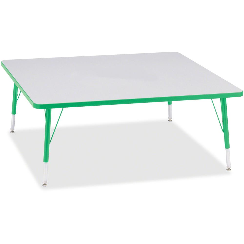 """Berries Toddler Prism Edge Color Square Table - Green Square, Laminated Top - Four Leg Base - 4 Legs - 48"""" Table Top Length x 48"""" Table Top Width x 1.13"""" Table Top Thickness - 15"""" Height - Assembly Re. Picture 1"""
