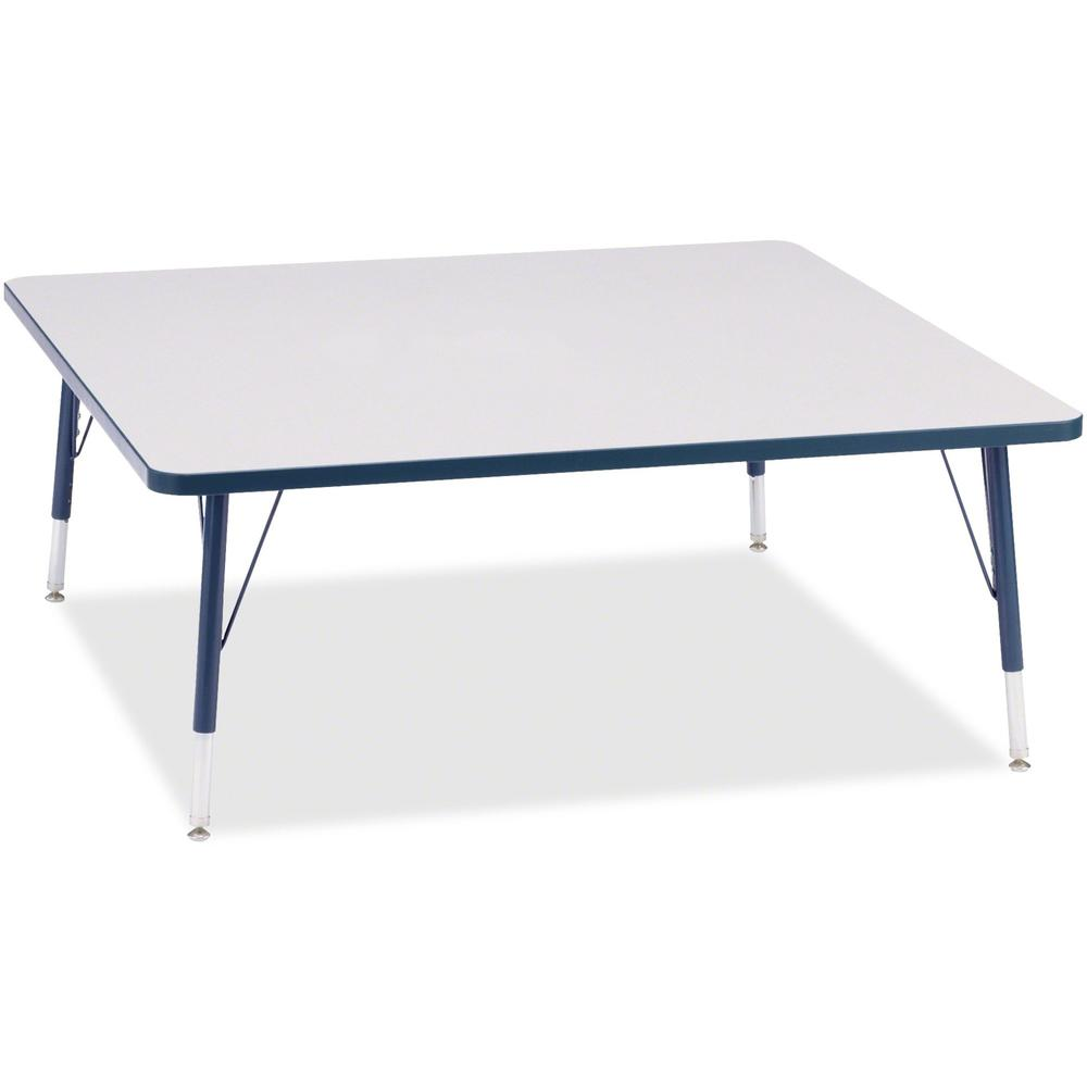"""Berries Toddler Prism Edge Color Square Table - Laminated Square, Navy Top - Four Leg Base - 4 Legs - 48"""" Table Top Length x 48"""" Table Top Width x 1.13"""" Table Top Thickness - 15"""" Height - Assembly Req. Picture 1"""