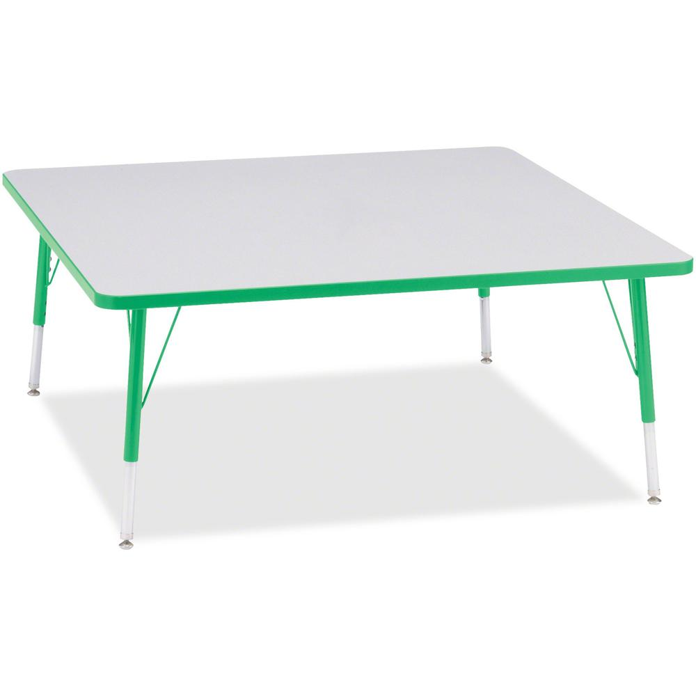 "Berries Elementary Height Color Edge Square Table - Green Square, Laminated Top - Four Leg Base - 4 Legs - 48"" Table Top Length x 48"" Table Top Width x 1.13"" Table Top Thickness - 24"" Height - Assembl. Picture 1"