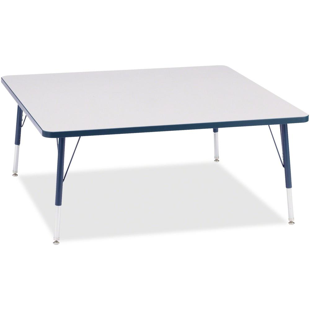"""Berries Elementary Height Color Edge Square Table - Laminated Square, Navy Top - Four Leg Base - 4 Legs - 48"""" Table Top Length x 48"""" Table Top Width x 1.13"""" Table Top Thickness - 24"""" Height - Assembly. Picture 1"""
