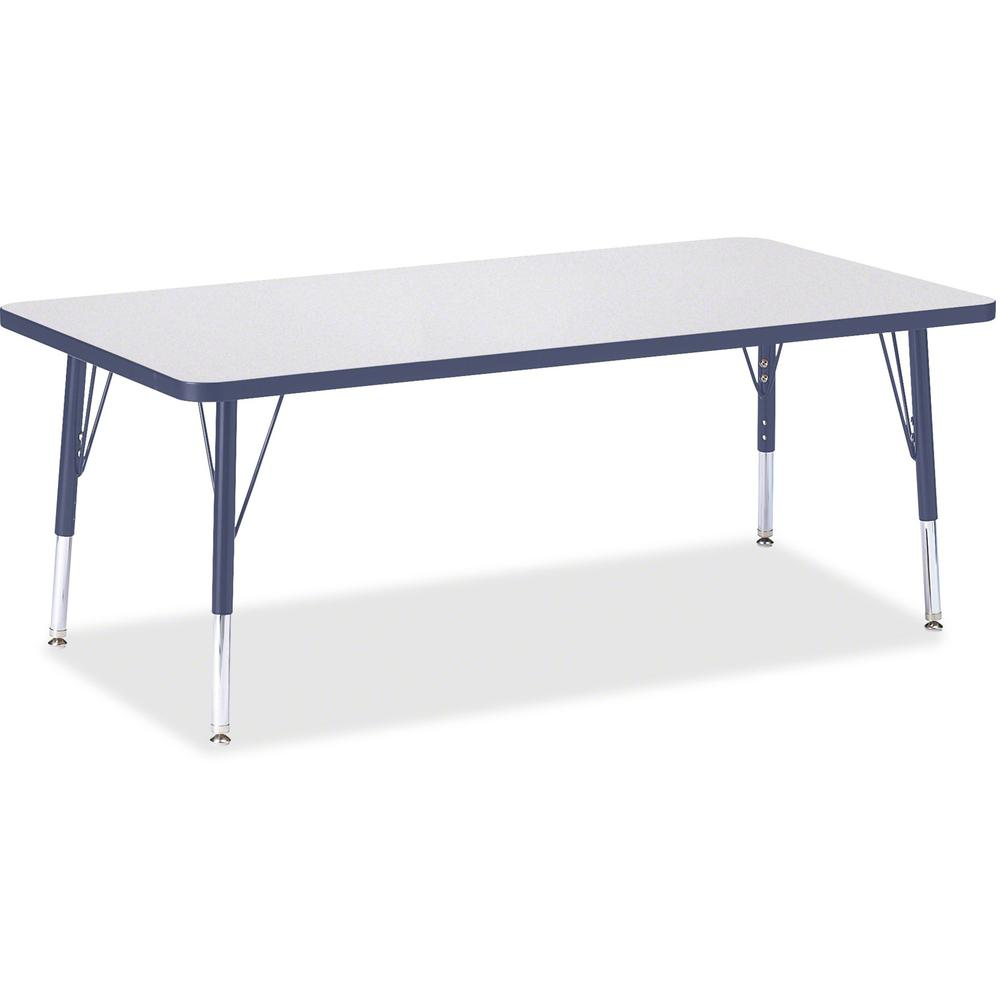 "Berries Toddler Height Prism Edge Rectangle Table - Laminated Rectangle, Navy Top - Four Leg Base - 4 Legs - 60"" Table Top Length x 30"" Table Top Width x 1.13"" Table Top Thickness - 15"" Height - Assem"