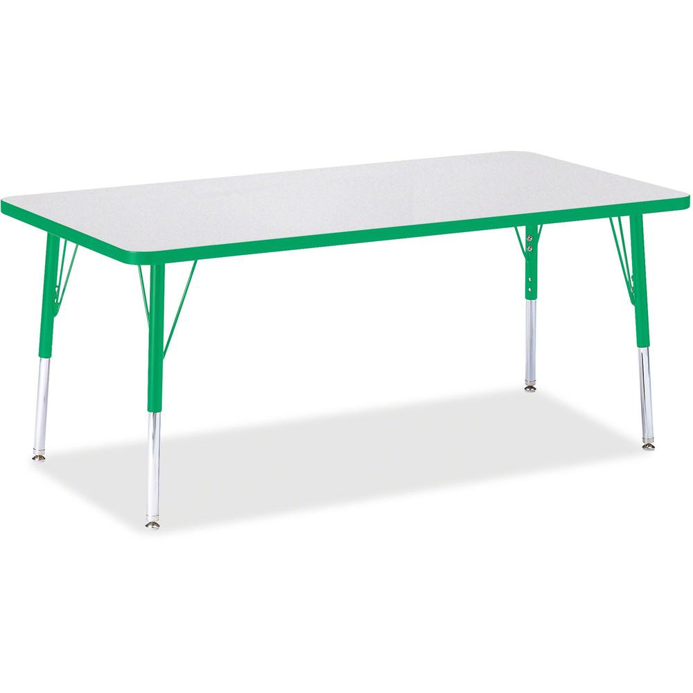 """Berries Elementary Height Color Edge Rectangle Table - Green Rectangle, Laminated Top - Four Leg Base - 4 Legs - 60"""" Table Top Length x 30"""" Table Top Width x 1.13"""" Table Top Thickness - 24"""" Height - A. Picture 1"""