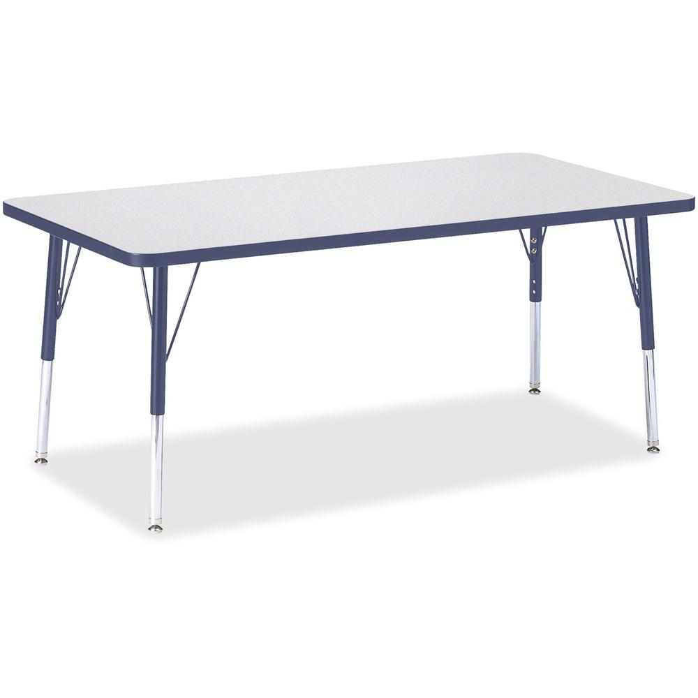 """Berries Elementary Height Color Edge Rectangle Table - Laminated Rectangle, Navy Top - Four Leg Base - 4 Legs - 60"""" Table Top Length x 30"""" Table Top Width x 1.13"""" Table Top Thickness - 24"""" Height - As. Picture 1"""