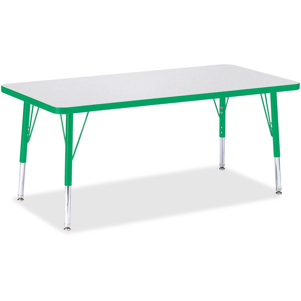 "Berries Toddler Height Prism Edge Rectangle Table - Green Rectangle, Laminated Top - Four Leg Base - 4 Legs - 48"" Table Top Length x 24"" Table Top Width x 1.13"" Table Top Thickness - 15"" Height - Asse. Picture 1"