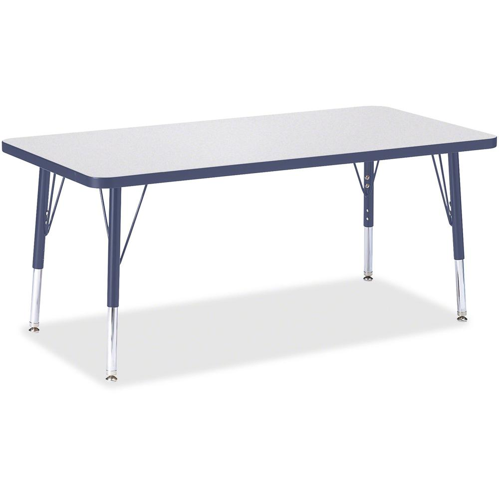 """Jonti-Craft Berries Toddler Height Prism Edge Rectangle Table - Laminated Rectangle, Navy Top - Four Leg Base - 4 Legs - 48"""" Table Top Length x 24"""" Table Top Width x 1.13"""" Table Top Thickness - 15"""" He. Picture 1"""