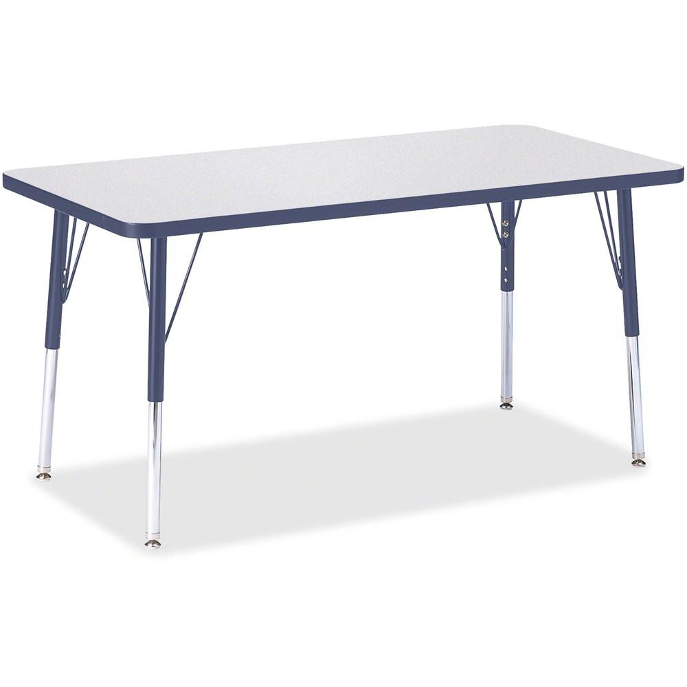 """Berries Adult Height Color Edge Rectangle Table - Laminated Rectangle, Navy Top - Four Leg Base - 4 Legs - 48"""" Table Top Length x 24"""" Table Top Width x 1.13"""" Table Top Thickness - 31"""" Height - Assembl. Picture 1"""