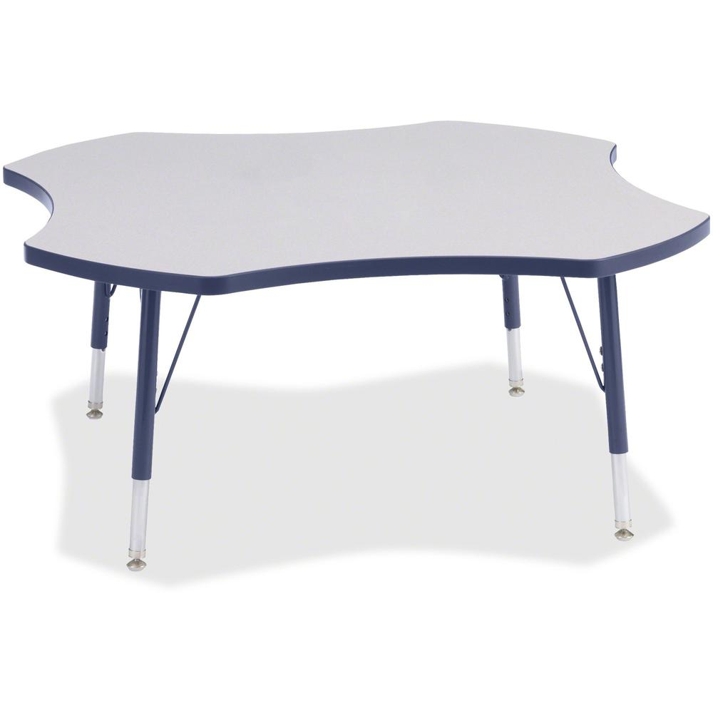 """Berries Prism Four-Leaf Student Table - Laminated, Navy Top - Four Leg Base - 4 Legs - 1.13"""" Table Top Thickness x 48"""" Table Top Diameter - 15"""" Height - Assembly Required - Powder Coated. Picture 1"""
