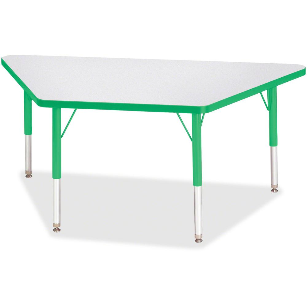"Berries Toddler-sz Gray Top Trapezoid Table - Green Trapezoid, Laminated Top - Four Leg Base - 4 Legs - 48"" Table Top Length x 24"" Table Top Width x 1.13"" Table Top Thickness - 15"" Height - Assembly R. Picture 1"