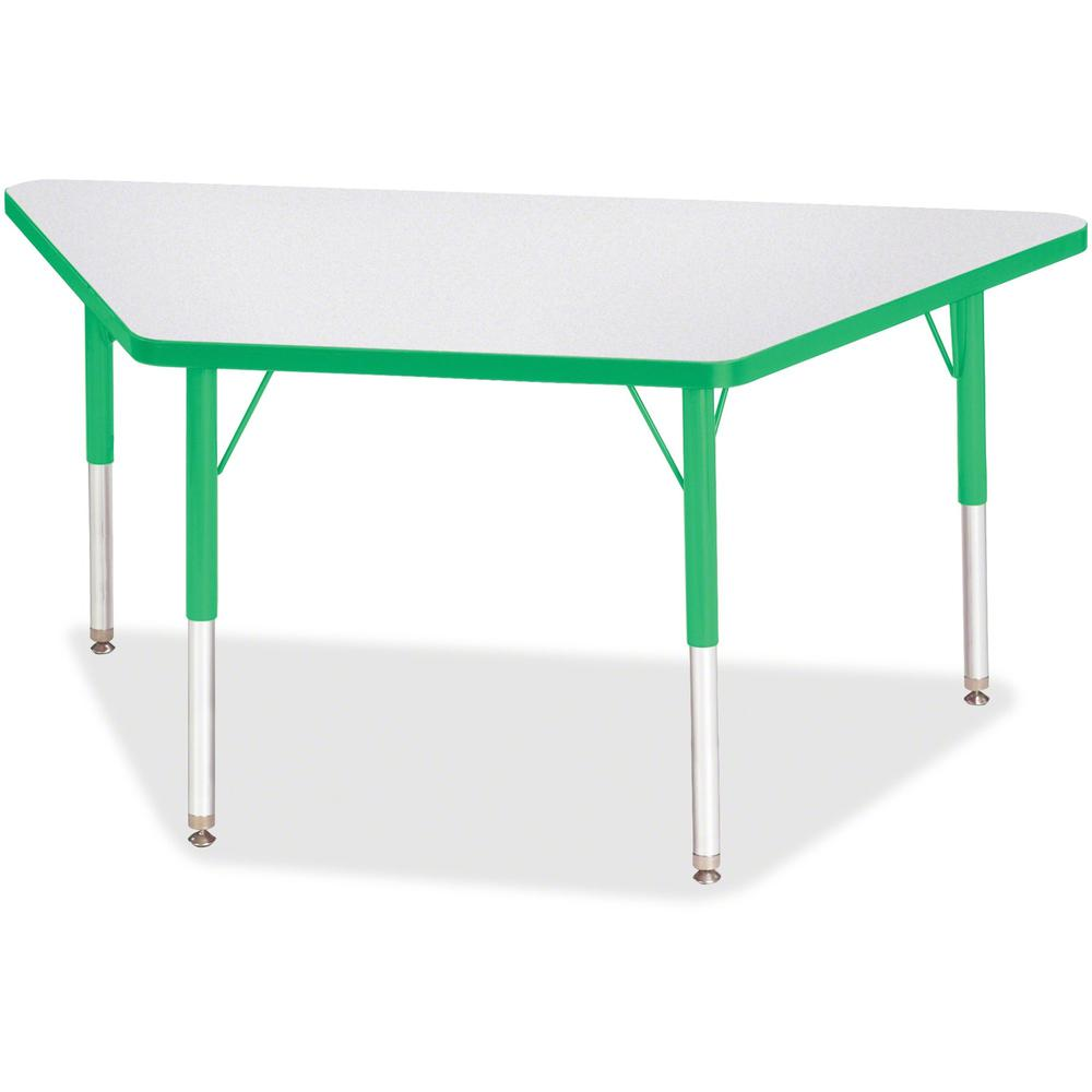 "Berries Elementary Height Prism Edge Trapezoid Table - Green Trapezoid, Laminated Top - Four Leg Base - 4 Legs - 48"" Table Top Length x 24"" Table Top Width x 1.13"" Table Top Thickness - 24"" Height - A. Picture 1"