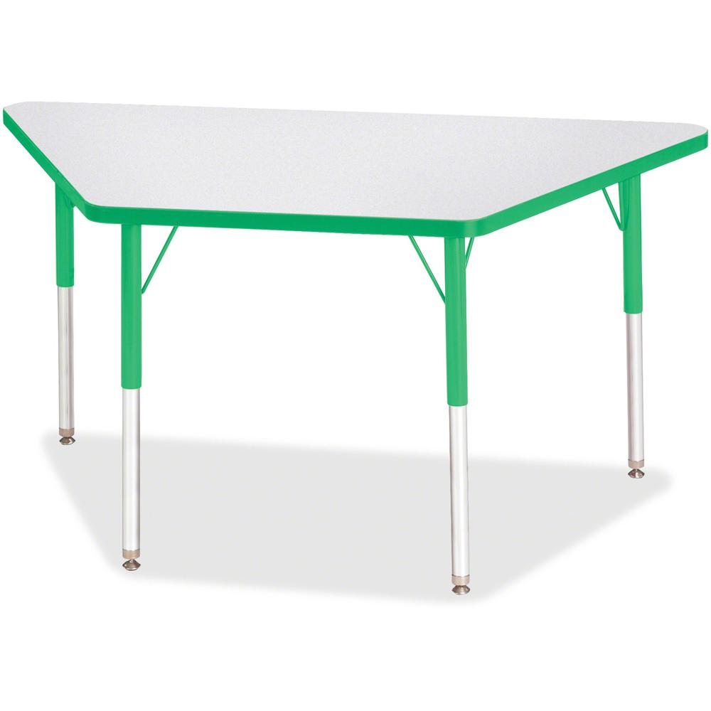 """Berries Adult-Size Gray Laminate Trapezoid Table - Green Trapezoid, Laminated Top - Four Leg Base - 4 Legs - 48"""" Table Top Length x 24"""" Table Top Width x 1.13"""" Table Top Thickness - 31"""" Height - Assem. Picture 1"""