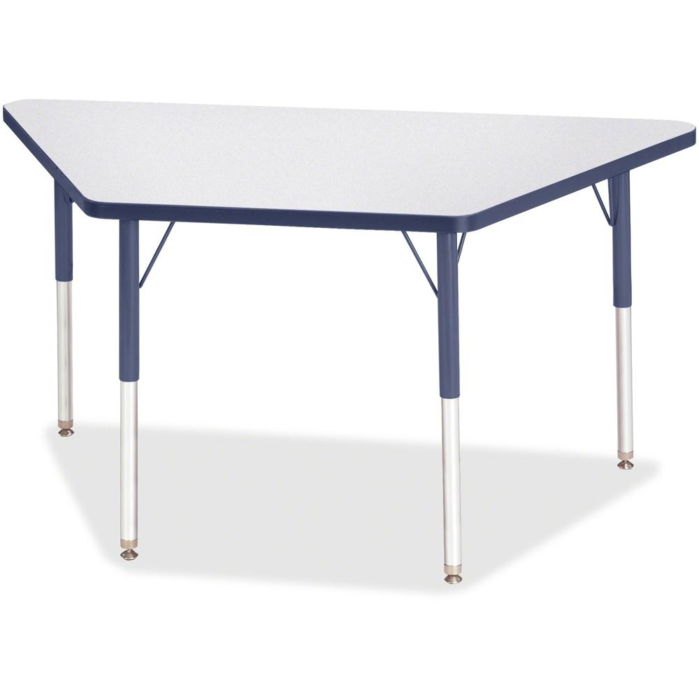 "Jonti-Craft Berries Adult-Size Gray Laminate Trapezoid Table - Laminated Trapezoid, Navy Top - Four Leg Base - 4 Legs - 48"" Table Top Length x 24"" Table Top Width x 1.13"" Table Top Thickness - 31"" Hei. Picture 1"