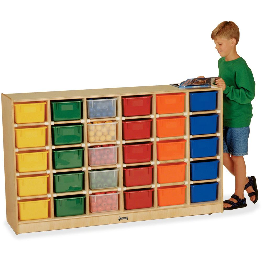 "Jonti-Craft 30 Cubbie-trays Mobile Storage Unit - 30 Compartment(s) - 35.5"" Height x 57.5"" Width x 15"" Depth - Baltic, Assorted Bin - Rubber, Acrylic - 1Each. Picture 1"