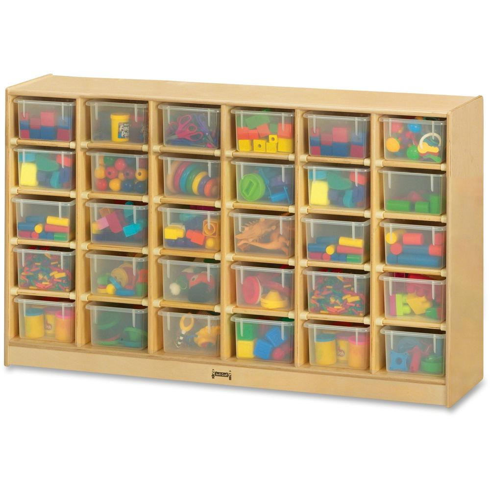 "Jonti-Craft Rainbow Accents 30 Cubbie-trays Mobile Storage Unit - 30 Compartment(s) - 35.5"" Height x 57.5"" Width x 15"" Depth - Durable, Non-yellowing - Baltic, Clear Bin - Rubber, Acrylic - 1 Each. Picture 1"