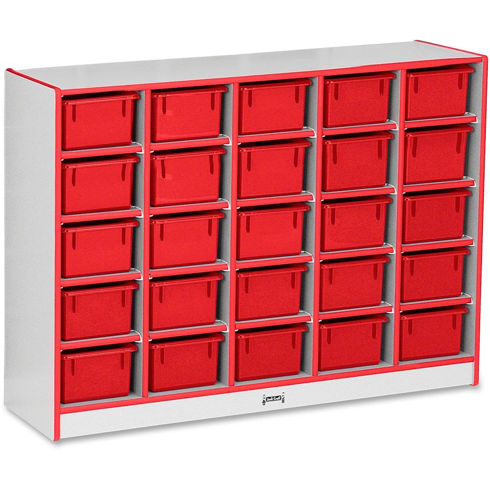 "Rainbow Accents Rainbow Accents Cubbie-trays Storage Unit - 25 Compartment(s) - 35.5"" Height x 48"" Width x 15"" Depth - Red - Rubber - 1Each. Picture 1"