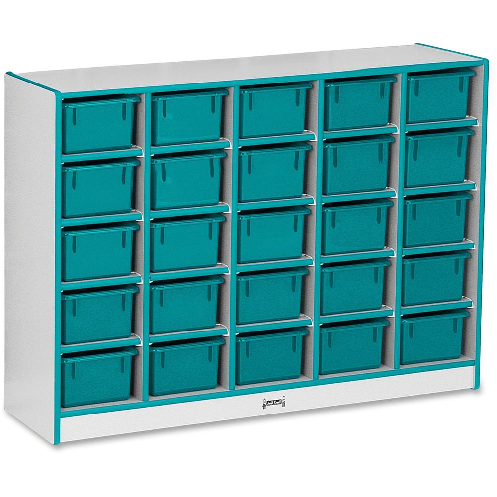 """Rainbow Accents Rainbow Accents Cubbie-trays Storage Unit - 25 Compartment(s) - 35.5"""" Height x 48"""" Width x 15"""" Depth - Teal - Rubber - 1Each. Picture 1"""