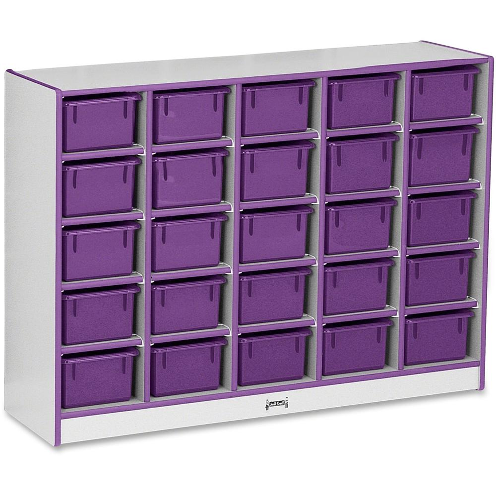 "Rainbow Accents Rainbow Accents Cubbie-trays Storage Unit - 25 Compartment(s) - 35.5"" Height x 48"" Width x 15"" Depth - Purple - Rubber - 1Each"