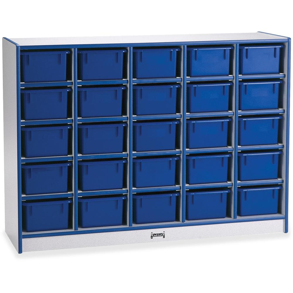 """Rainbow Accents Rainbow Accents Cubbie-trays Storage Unit - 25 Compartment(s) - 35.5"""" Height x 48"""" Width x 15"""" Depth - Blue - Rubber, Wood - 1Each. Picture 1"""