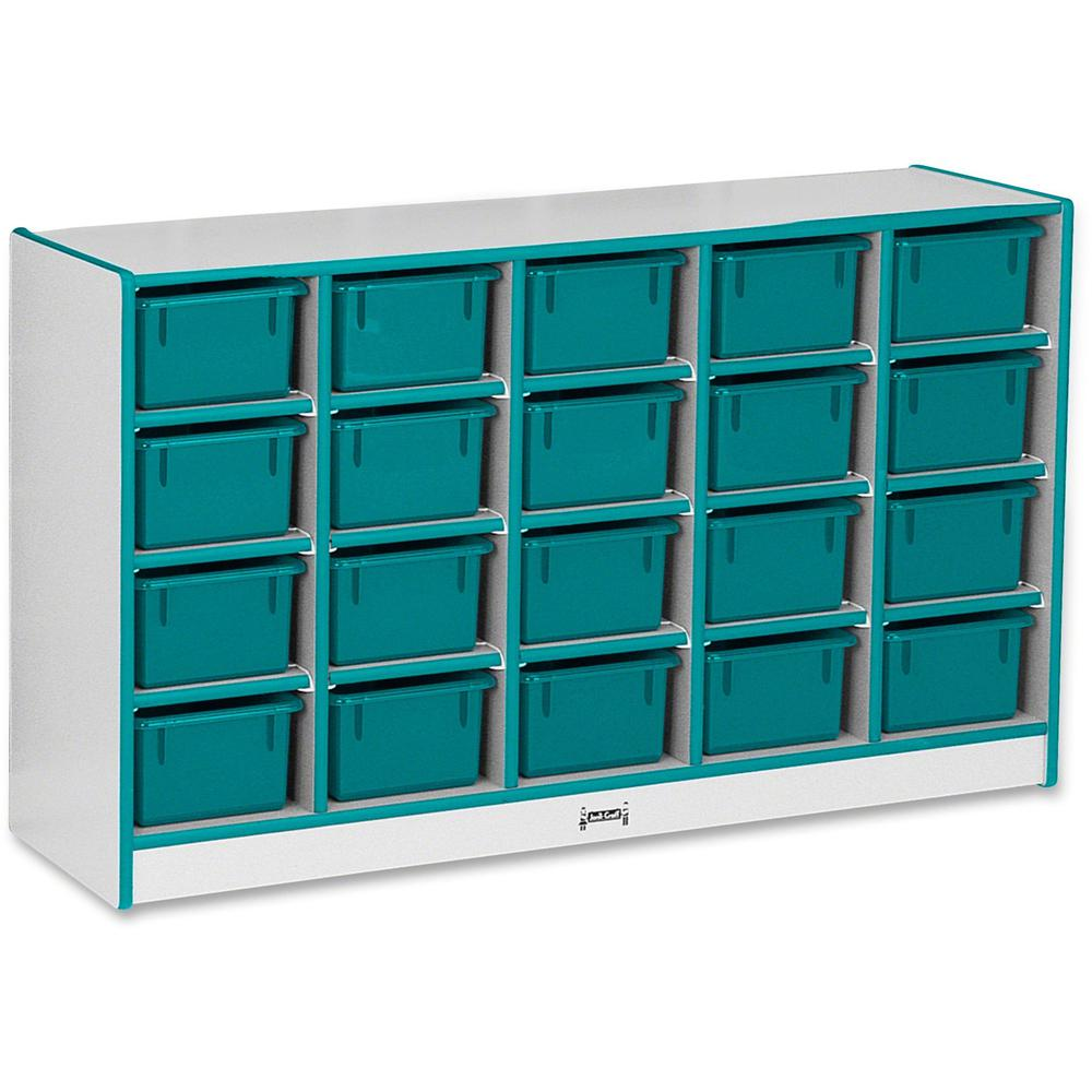 """Jonti-Craft Rainbow Accents Cubbie-trays Storage Unit - 29.5"""" Height x 48"""" Width x 15"""" Depth - Teal - Rubber - 1Each. Picture 1"""