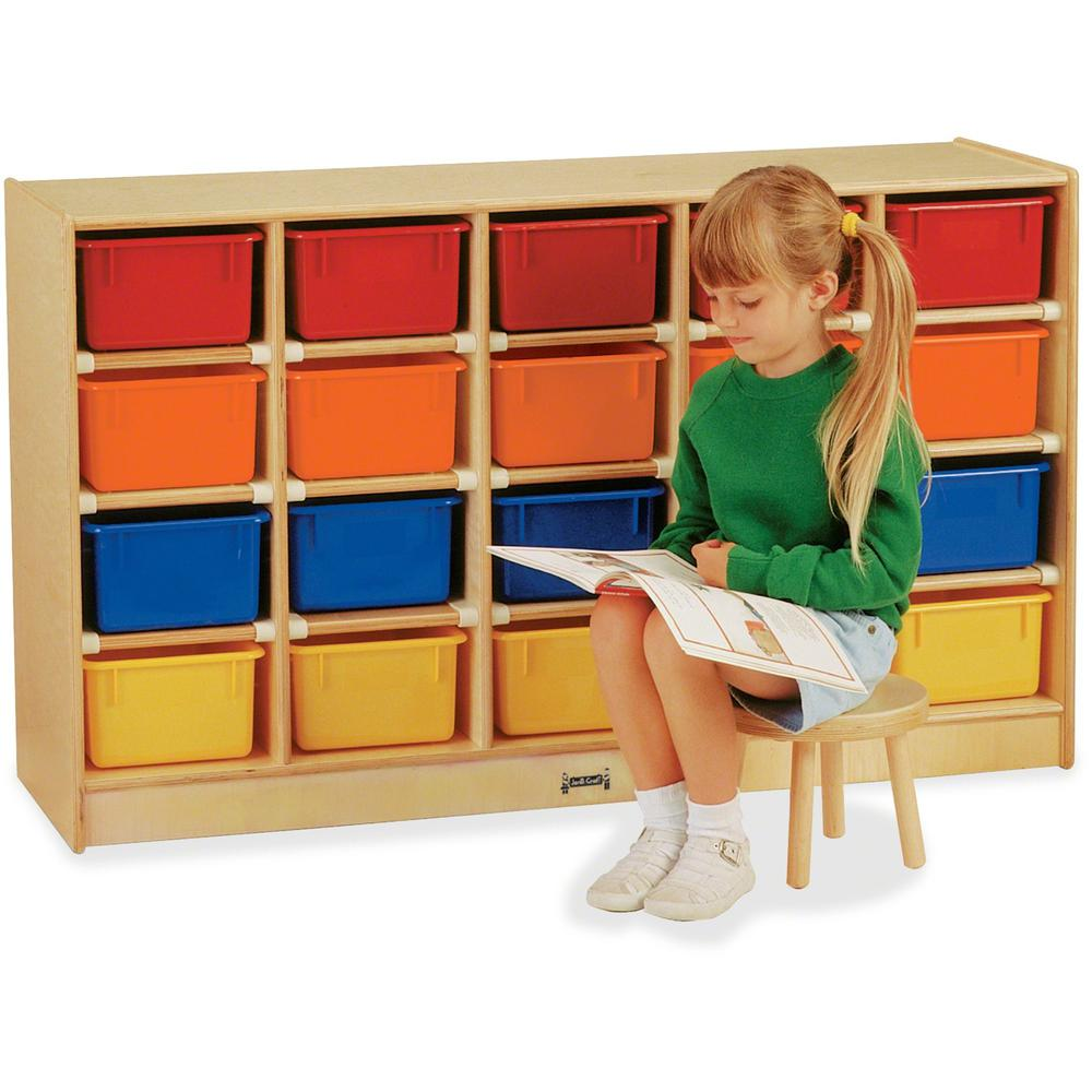 """Jonti-Craft 20 Cubbie-tray Mobile Storage Unit - 29.5"""" Height x 48"""" Width x 15"""" Depth - Baltic - Acrylic, Rubber - 1Each. Picture 1"""
