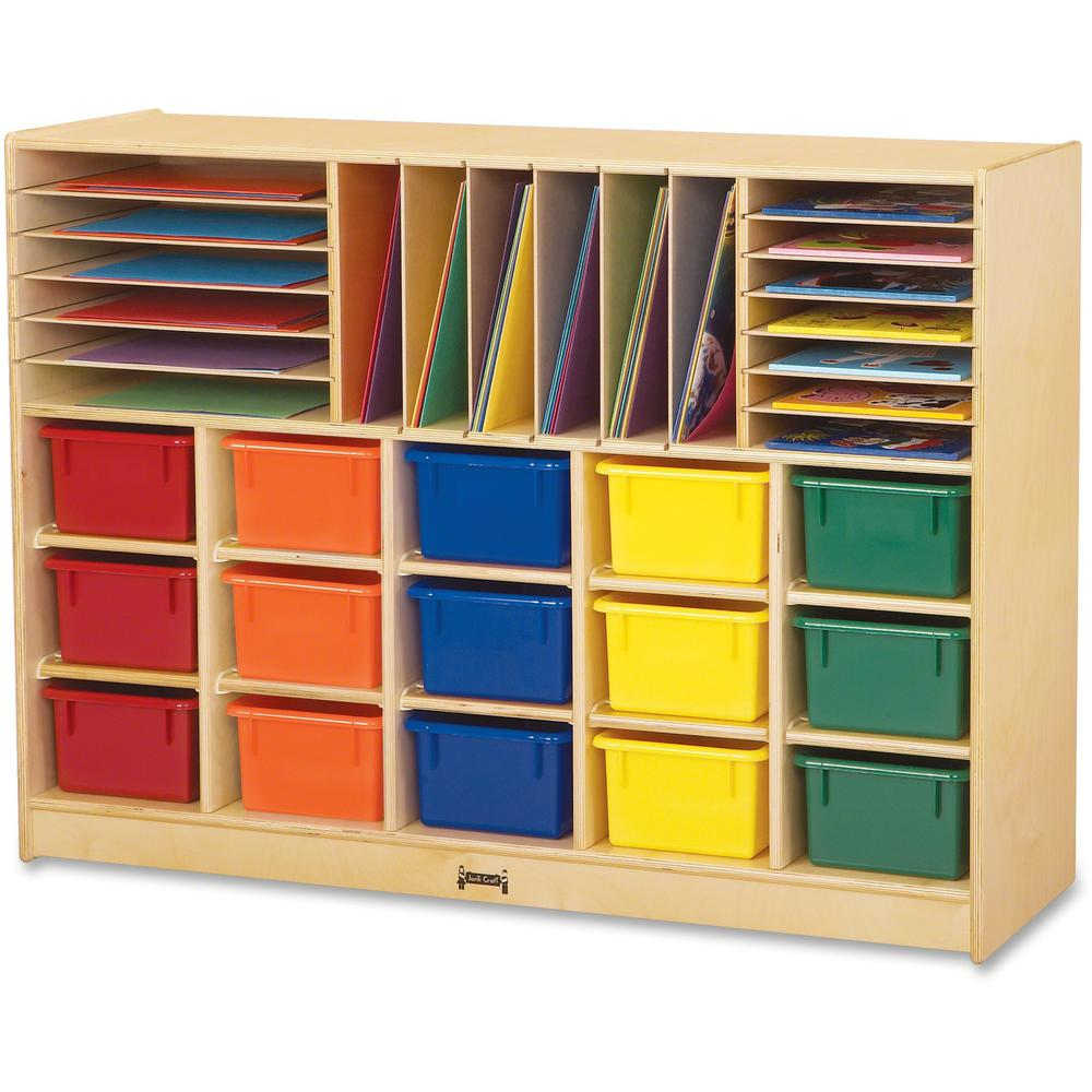 """Jonti-Craft Colored Tray Sectional Cubbie Storage - 35.5"""" Height x 48"""" Width x 15"""" Depth - Baltic - Acrylic, Rubber - 1Each. Picture 1"""
