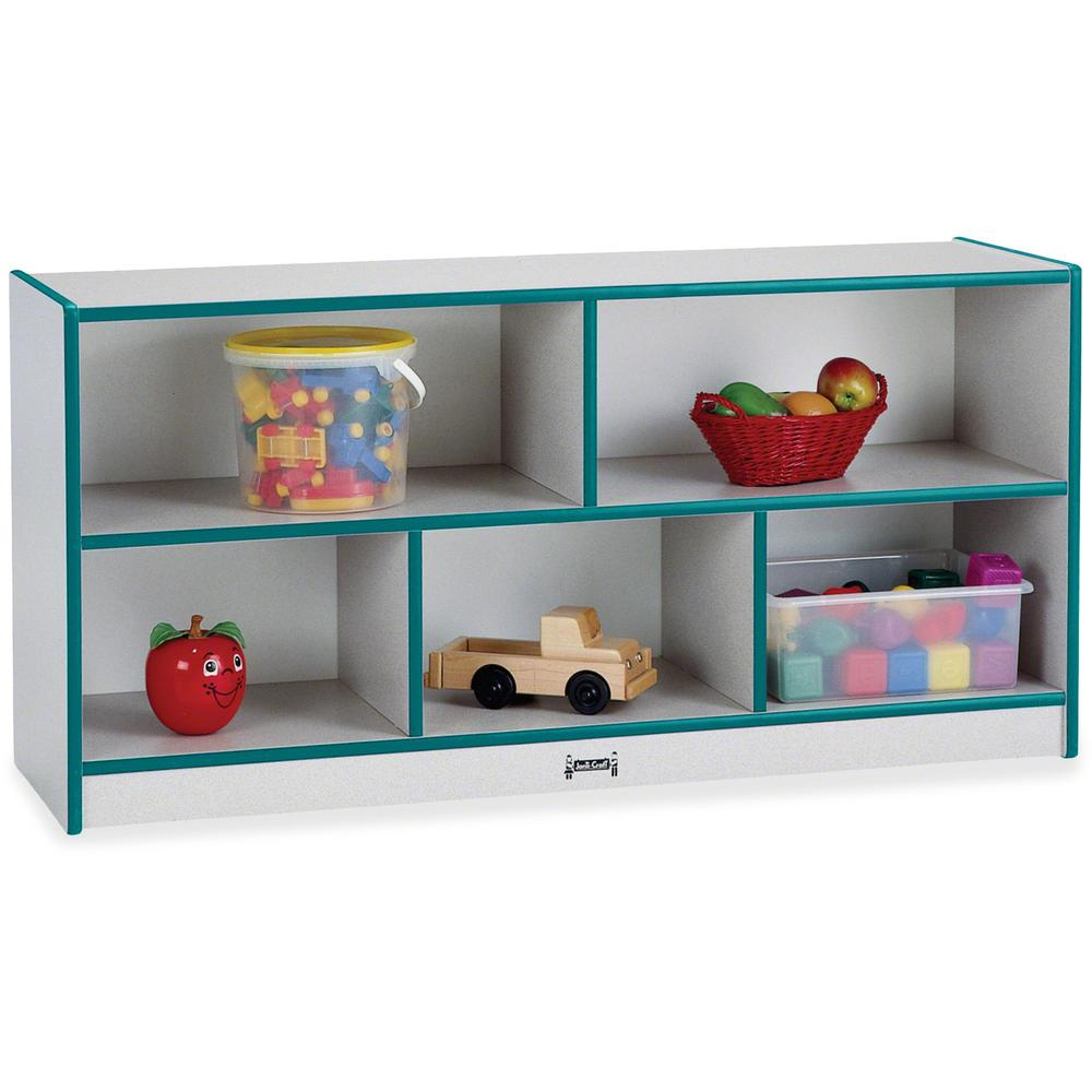 "Jonti-Craft Rainbow Accents Low Open Single Storage Shelf - 29.5"" Height x 48"" Width x 15"" Depth - Teal - Rubber - 1Each. Picture 1"